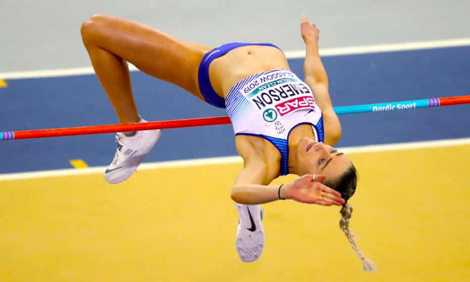 Niamh Emerson competes in the high jump on her way to winning pentathlon silver at the European Indoor Athletics Championships in March 2019.