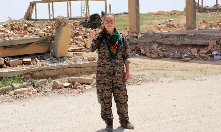 Kimberley Taylor at militia headquarters, Ain Issa, Syria