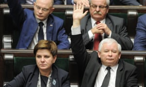 Jarosław Kaczyński – leader of Poland's ruling Law and Justice party, shown seated beside the prime minister, Beata Szydło – votes in favour of changes to the constitutional court.