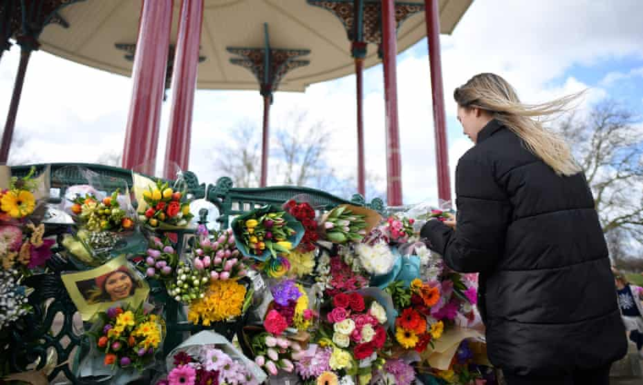 Floral tributes in honour of Sarah Everard, Clapham Common, London, 13 March 2021.