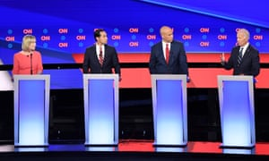 Kirsten Gillibrand, Julián Castro, Cory Booker and Joe Biden speak during the Democratic primary debate of the 2020 presidential campaign.