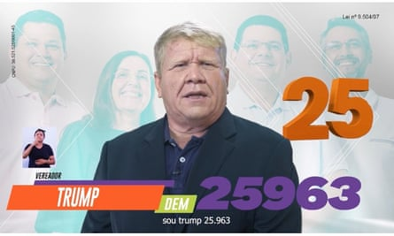 Miguel Simões Leal, a 49-year-old politician from the Brazilian Amazon, is running for office using the name 'Trump'.