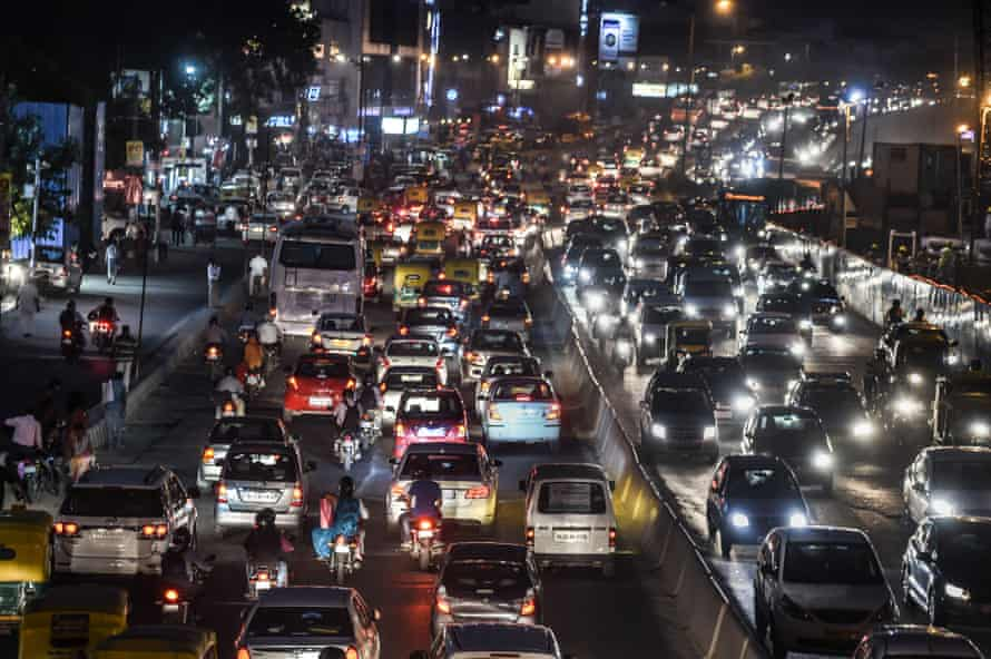 Commuters clog a busy artery in southern Delhi