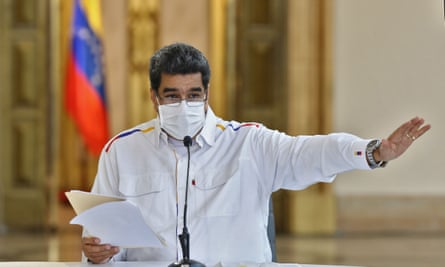 President Nicolás Maduro speaking during a televised message announcing new arrests related to an alleged failed bid to topple him, at Miraflores Presidential Palace in Caracas at the weekend.