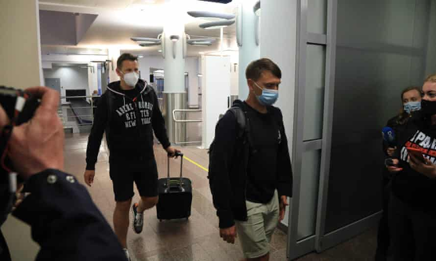Passengers from flight FR4978 after landing in Vilnius following the ordeal.