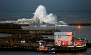 County Durham, England: High waves hit the harbour wall