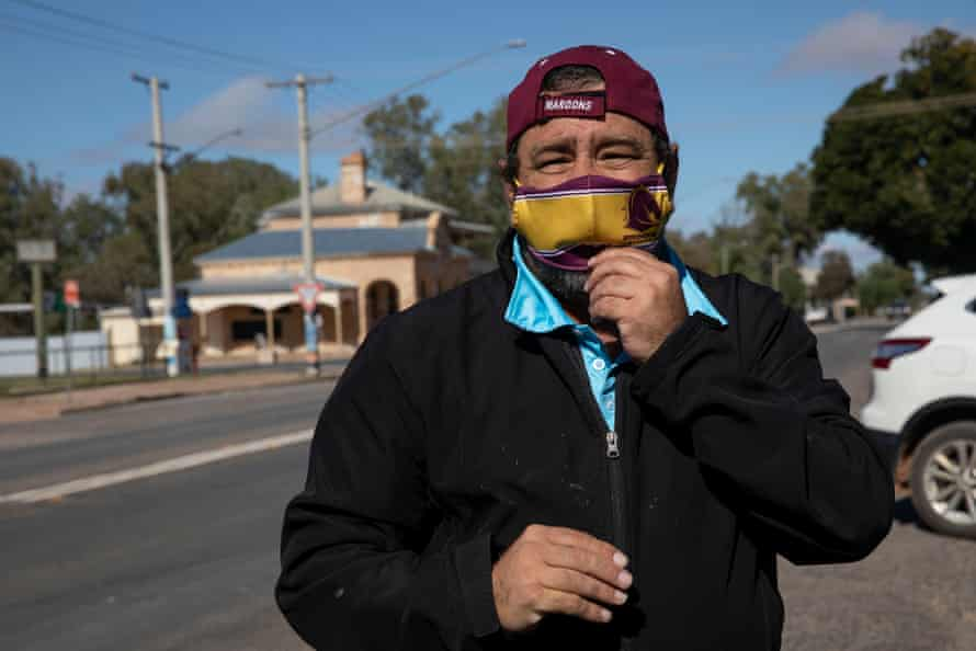 Brendon Adams, who has been helping with providing food to families in isolation, Wilcannia, NSW, Australia.
