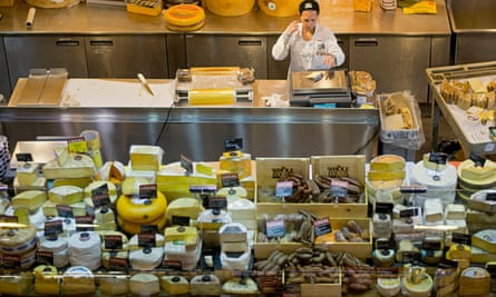 A view from above of the cheese counter at Whole Foods on Houston Street in downtown Manhattan, New York City in 2016