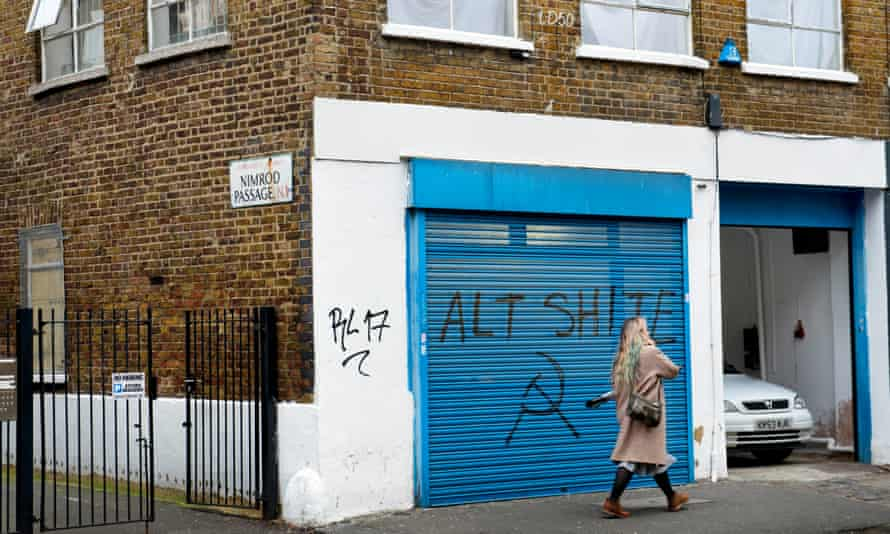 LD50 gallery in Dalston – now with added 'Alt Shite' graffiti.