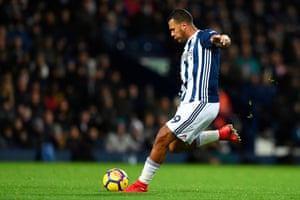 Salomon Rondon fires in a shot that hits the bar.