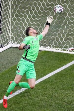 Slovakia's goalkeeper Martin Dubravka makes a save.