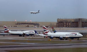British Airways planes wait on the tarmac at Heathrow airport in London.