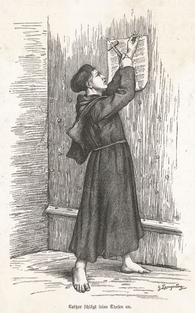An etching of Martin Luther nailing up his theses.