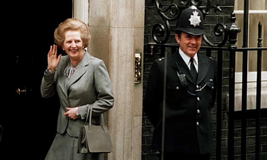 1987 file photo, Margaret Thatcher in Downing Street