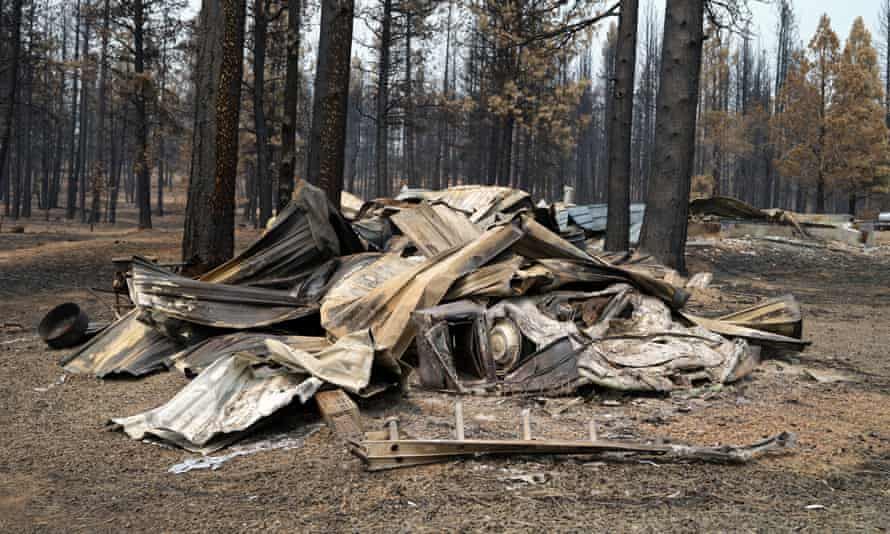 Remains from the Bootleg wildfires in Oregon, 2021.