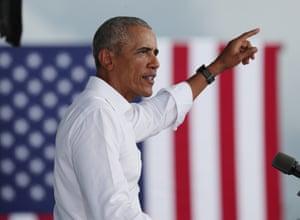 Former president Barack Obama campaigning for Joe Biden In Florida this afternoon.