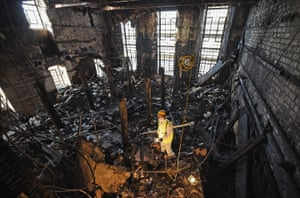 The fire-damaged Mackintosh Library at the Glasgow School of Art after the first fire in 2014.