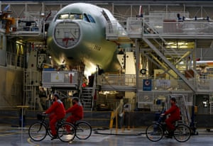 An Airbus A330 on its final assembly line at Airbus headquarters near Toulouse