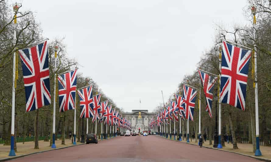Union flags line the Mall in preparation for Brexit day.
