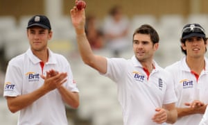 England's Jimmy Anderson acknowledges the crowd after taking his fifth wicket against Pakistan at Trent Bridge in 2010