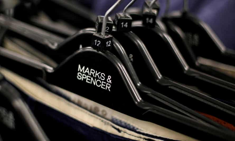 Clothes on hangers in Marks & Spencer