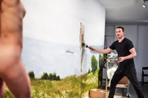 Yolanda Frost poses as Alan Jones paints