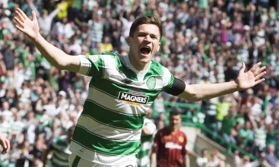 Jack Aitchison, aged 16, celebrates scoring with his first touch as a Celtic player