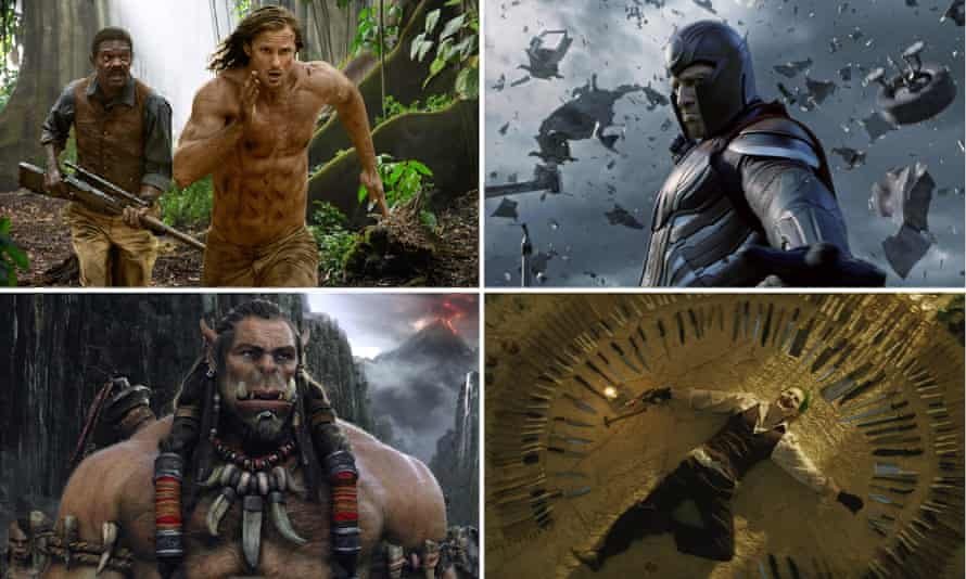 Summer hating ... clockwise from top left: The Legend of Tarzan, X-Men Apocalypse, Suicide Squad and Warcraft