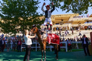 Frankie Dettori and Star Catcher after their win at Longchamp on Sunday.
