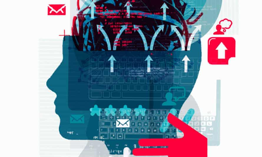 Laptop, email and arrows over a human head