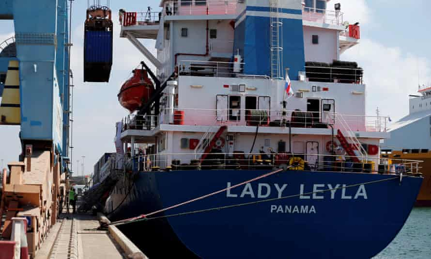 Containers are unloaded Ashdod port, in southern Israel, from the Lady Leyla, a Turkish ship carrying humanitarian aid bound for Gaza.