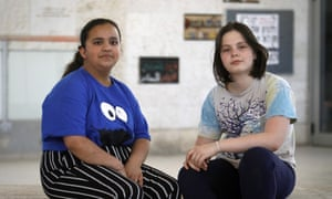 Quds Ayub and Rivka Bruner are students of 7th grade at Hand in Hand school in Jerusalem.