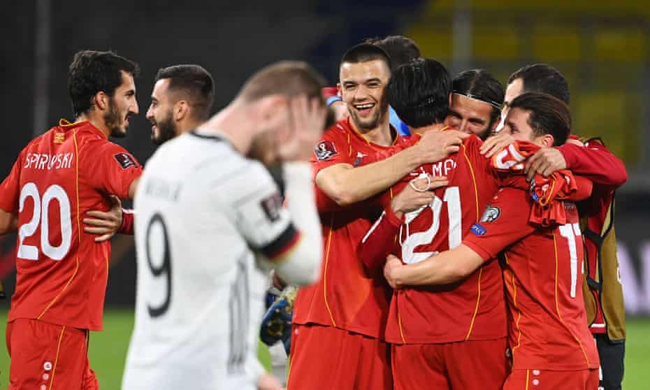 North Macedonia celebrate their shock victory over Germany during their World Cup qualifier in March