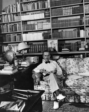 Thomas Mann in his Pacific Palisades home, where 'books, books, books' covered floor-to-ceiling shelves.
