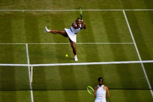 Serena Williams hits match point on her way to victory over Giulia Gatto-Monticone.