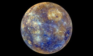 This enhanced-colour image from Nasa's Messenger probe shows Mercury in swathes of iridescent blue, sandy-coloured plains and delicate strands of greyish white – creating an ethereal and colourful view of the solar system's innermost planet.