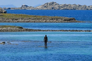 The statue 6 Times Left by Antony Gormley, part of his exhibition Sight, stands in the sea