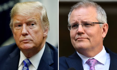 (L) US president Donald Trump (R) Australian prime minister Scott Morrison