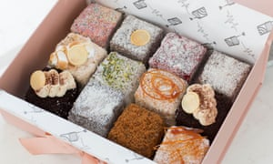 A mixed box of lamingtons frrom Radio Lamington