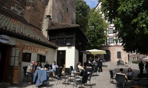 Nuremberg cafe and streets in the old medieval town