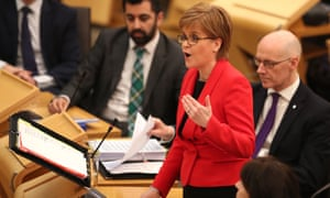 Nicola Sturgeon, the Scottish first minister, in Holyrood on Thursday