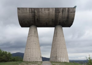 Shrine to the Revolution or Monument to Fallen Miners on Partisan Hill in Kosovo.