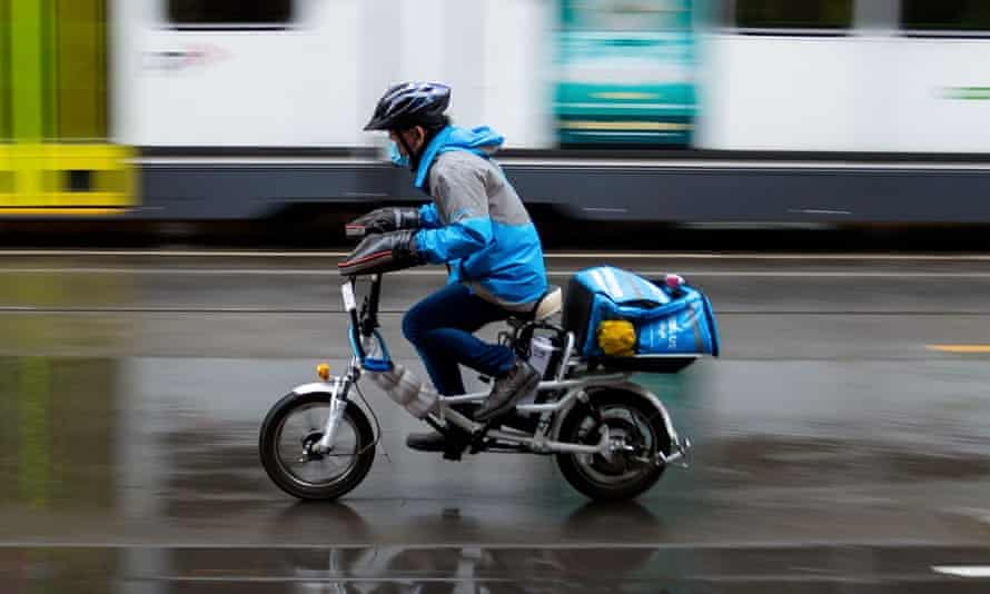 File photo of a food delivery rider in Melbourne, Australia