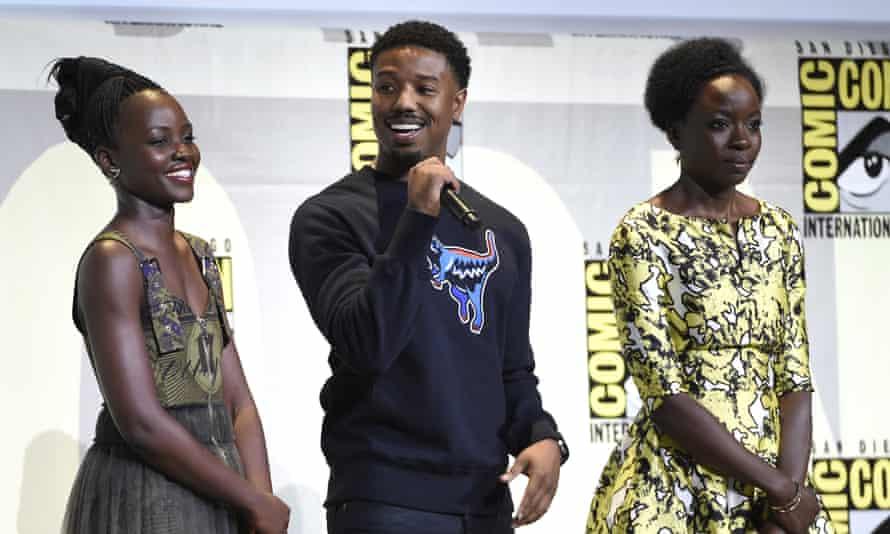 Lupita Nyong'o, Michael B Jordan and Danai Gurira attend the Black Panther panel.