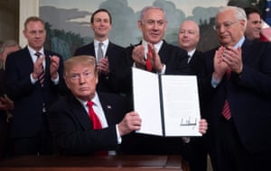 Washington D.C, USUS President Donald Trump holds up a signed Proclamation on the Golan Heights alongside Israeli Prime Minister Benjamin Netanyahu in the Diplomatic Reception Room at the White House. US President Donald Trump signed a proclamation recognising Israeli sovereignty over the disputed Golan Heights, a border area seized from Syria in 1967.
