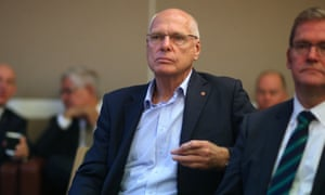Jim Molan watches Scott Morrison address the Liberal party room in May.