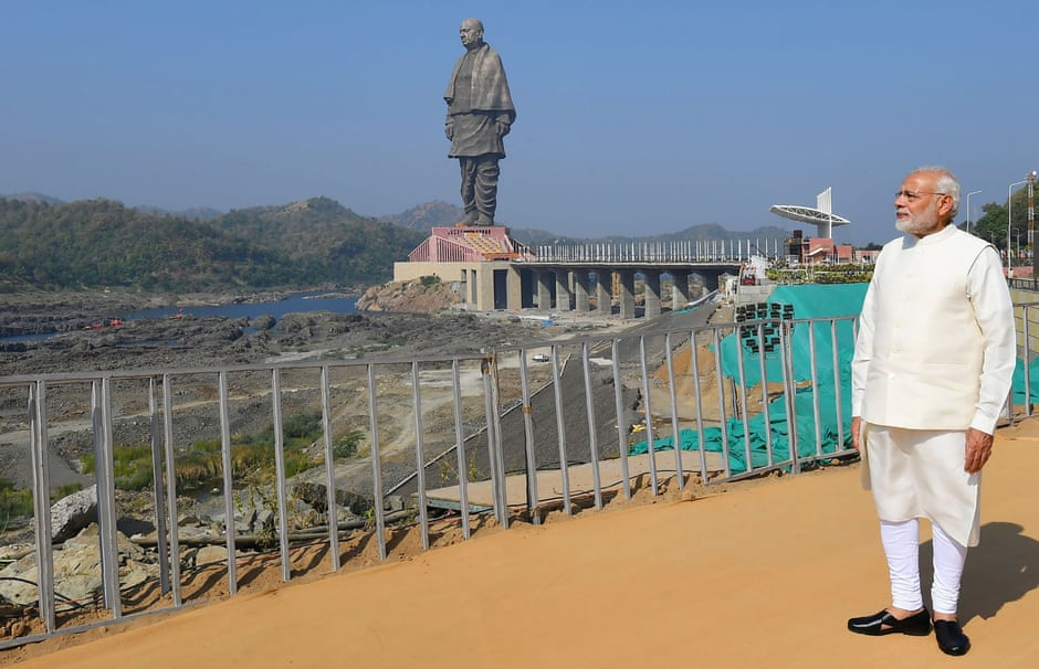 Narendra Modi at the inauguration of the Statue of Unity, the world's tallest statue, in India's western Gujarat state in 2018.