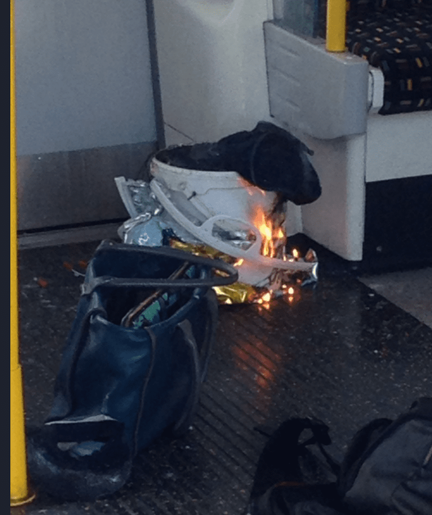 A Twitter photo of the suspected device in the Parsons Green explosion