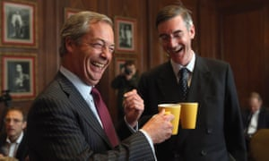 Nigel Farage and Jacob Rees-Mogg at a 2016 meeting of the Eurosceptic Bruges Group.