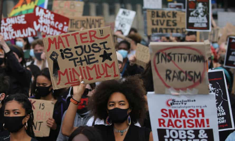 Protesters from a Black Lives Matter rally in July in London
